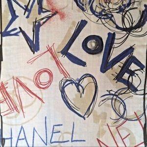 CHANEL Accessories - CHANEL Cashmere Silk Blend Graffiti Wrap Scarf